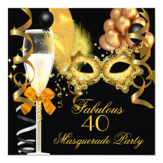 40 & Fabulous Gold Black Masquerade Party Card