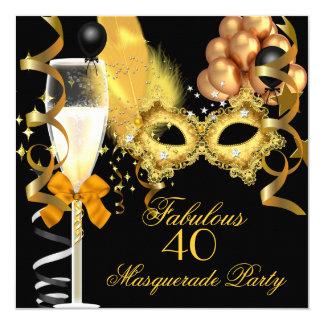 40 & Fabulous Gold Black Masquerade Party 5.25x5.25 Square Paper Invitation Card