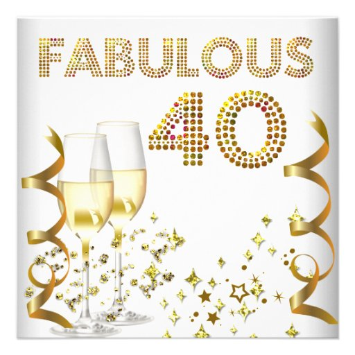 40 Fabulous Gold Champagne 40th Birthday Party Custom Invites