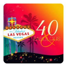40 & Fabulous Las Vegas Birthday Party Card