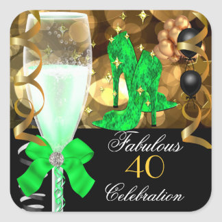 40 & Fabulous Lime Green Black Gold Birthday Party Square Sticker