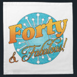 "40 &amp; Fabulous! Napkin<br><div class=""desc"">A beautiful,  fun birthday gift idea for women celebrating a milestone birthday. This unique design features vibrant colors or blue and orange.</div>"