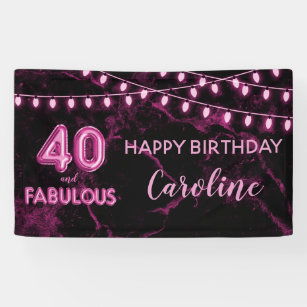 40 Fabulous Pink Black Balloon Lights Birthday Banner