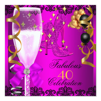 40 Fabulous Pink Black Gold 40th Champagne Party Card