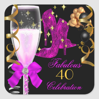40 & Fabulous Pink Purple Gold Birthday Shoes Square Sticker