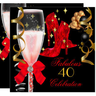 40 & Fabulous Red Black Gold Birthday Shoes Card