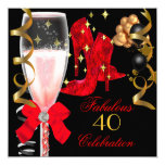 40 & Fabulous Red Black Gold Birthday Shoes 5.25x5.25 Square Paper Invitation Card