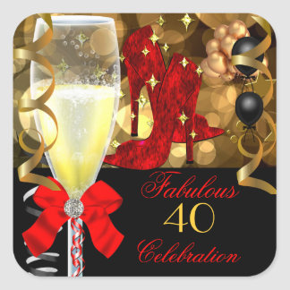 40 Fabulous Red Black Gold Birthday Shoes Square Sticker
