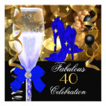 40 & Fabulous Royal Blue Black Gold Birthday Party Personalized Invite