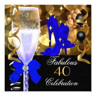 40 & Fabulous Royal Blue Black Gold Birthday Party 5.25x5.25 Square Paper Invitation Card