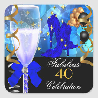 40 & Fabulous Royal Blue Black Gold Birthday Party Square Sticker