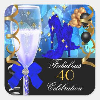 40 & Fabulous Royal Blue Black Gold Birthday Party Square Sticker