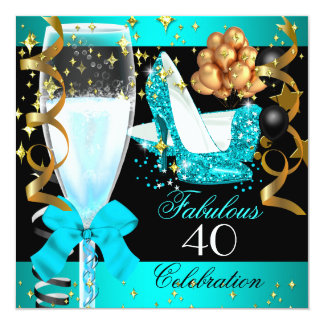 40 Fabulous Teal Blue Gold 40th Birthday Party 2 Card