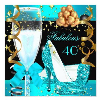 40 Fabulous Teal Blue Gold 40th Birthday Party 3 Card