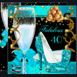 """40 Fabulous Teal Blue Gold 40th Birthday Party 3 Invitation<br><div class=""""desc"""">High Heel Shoes Fabulous 40 40's 40th Elegant Teal Blue Yellow Gold Black Birthday Party Champagne. Womens ladies or Girls. Elegant Classy Celebrations All Occasion Invitations. Party birthday invites Template for 21st,  30th,  40th,  50th,  60th,  70th,  80th,  90,  100th, </div>"""