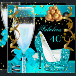 "40 Fabulous Teal Blue Gold 40th Birthday Party 3 Invitation<br><div class=""desc"">High Heel Shoes Fabulous 40 40"