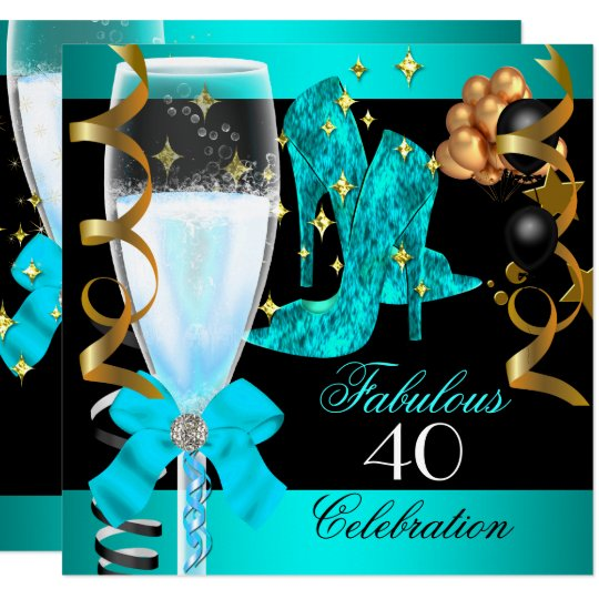40 Fabulous Teal Blue Gold 40th Birthday Party Invitation