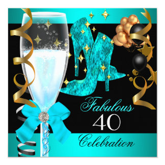 40 Fabulous Teal Blue Gold 40th Birthday Party 5.25x5.25 Square Paper Invitation Card