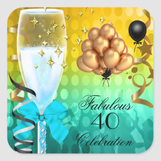40 & Fabulous Teal Blue Gold Birthday Champagne Square Sticker