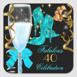 40 & Fabulous Teal Blue Gold Birthday Shoes Square Sticker