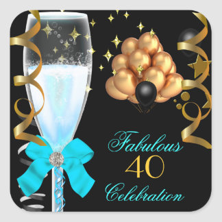 40 & Fabulous Teal Blue Gold Black Champagne Square Sticker