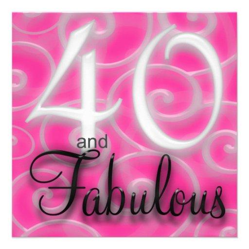 40 is Fabulous Birthday Invitation