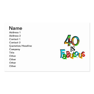 40 is Fabulous Birthday T-shirts and Gifts Business Cards