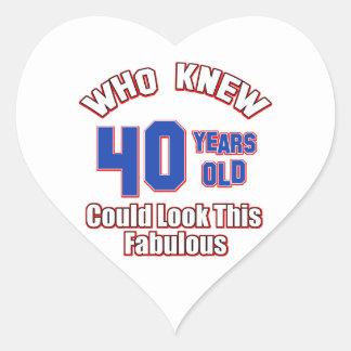 40 look fabulous heart sticker