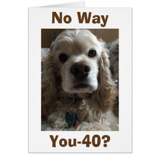 """40"" NO WAY SAYS THIS CUTE COCKER SPANIEL CARD"