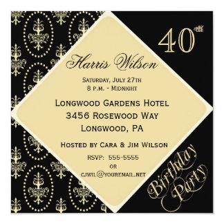 """40.o-49.o Invitaciones del cumpleaños Invitación 5.25"""" X 5.25"""""""