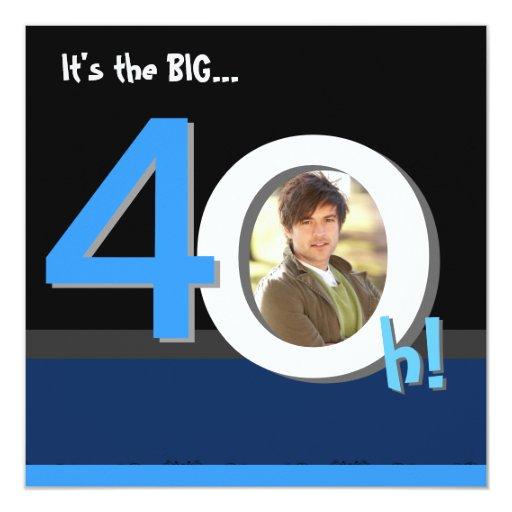 40.o ¡4Oh grande! Fiesta de cumpleaños de la Invitaciones Personalizada