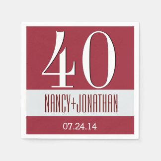 40.o A05 rojo del aniversario y de plata moderno Servilleta Desechable