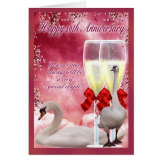 40.o aniversario - aniversario de rubíes tarjeta de felicitación
