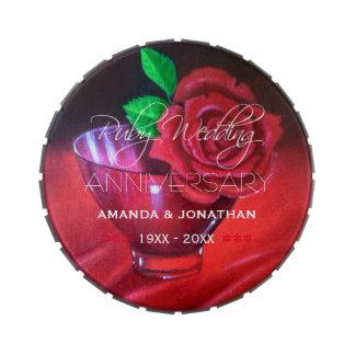 40.o Aniversario de boda de rubíes conmemorativo Frascos De Caramelos
