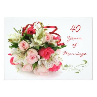 40.o Aniversario de boda.  Rosas y lirios Invitación 12,7 X 17,8 Cm