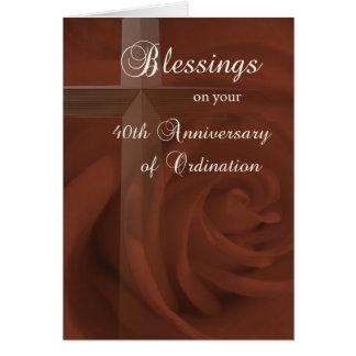 40.o Aniversario de la ordenación, del rosa rojo y Tarjeta De Felicitación