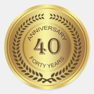 40.o aniversario de oro con el pegatina de la