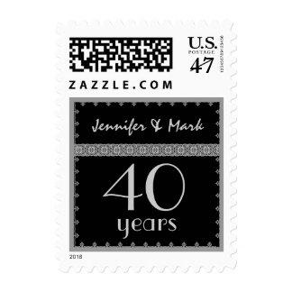 40.o Aniversario del año - negro y sello de la