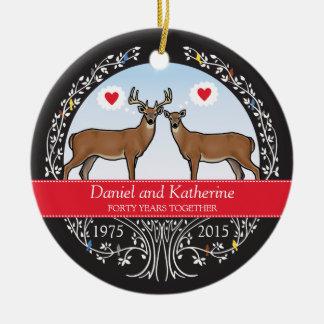 40.o aniversario, dólar y gama de boda adorno navideño redondo de cerámica