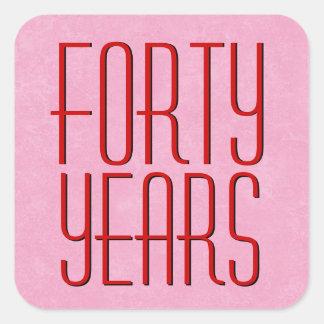 40.o aniversario moderno rojo y rosado pegatina cuadrada