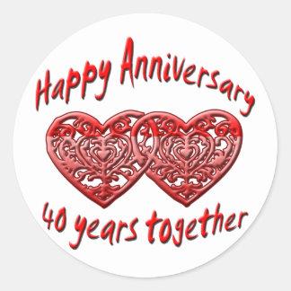 40.o. Aniversario Pegatina Redonda