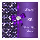 40.o Arco púrpura del diamante de las lentejuelas  Invitación Personalizada