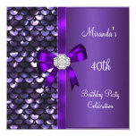 40.o Arco púrpura del diamante de las lentejuelas Invitación 13,3 Cm X 13,3cm