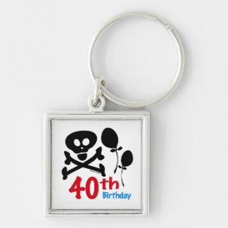 40.o Bandera pirata del cráneo del cumpleaños Llavero Personalizado