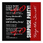 40.o Blanco rojo W1895 del negro del cumpleaños de Invitaciones Personalizada