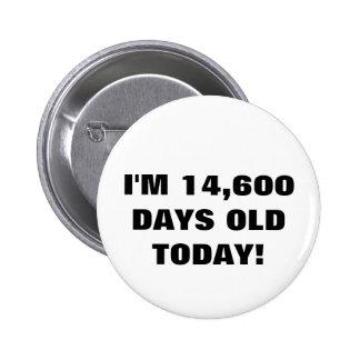 40.o Botón del cumpleaños Pin Redondo De 2 Pulgadas
