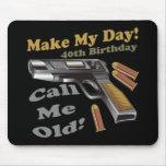 40.o Camisetas y regalos del cumpleaños Tapetes De Ratones