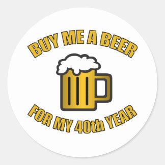 40.o Cerveza divertida del cumpleaños Pegatina Redonda