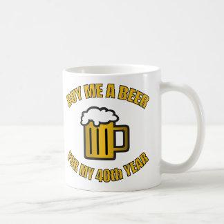 40.o Cerveza divertida del cumpleaños Taza De Café
