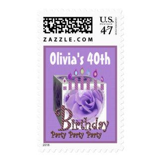 40.o Color de rosa PÚRPURA y velas del sello de la
